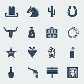 Cowboy Icons.vector Wild West Pictograms Isolated