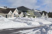 Wintertime view of a residential neighborhood.