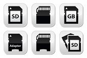 image of mg  - Memory card vector black buttons set with reflection isolated on white - JPG