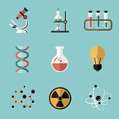 stock photo of atom  - Chemistry bio technology science flat icons set of molecule nuclear power and microscope for school education isolated vector illustration - JPG