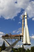 stock photo of yuri  - Scale reproduction of Vostok 1 rocket used by Yuri Gagarin in the first space flight - JPG