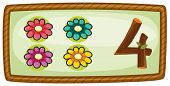 Illustration of a frame with four flowers on a white background