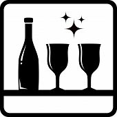 stock photo of boose  - icon with bottle and wine glass silhouette  - JPG