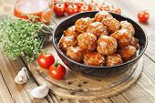 stock photo of meatballs  - Meatballs in tomato sauce in the bowl - JPG