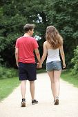 pic of girl walking away  - Young dating teenage couple taking a walk along a path in a park walking away from the camera holding hands - JPG