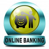 online banking money deposit on internet bank account icon or button