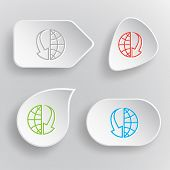 Globe and array down. White flat vector buttons on gray background.