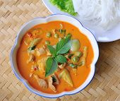 foto of thai cuisine  - Pork Curry with vagetable  delicious Thai cuisine - JPG