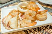 picture of tiger prawn  - Tiger prawns and squid teppanyaki - JPG