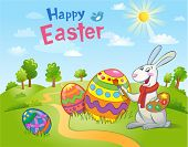 picture of ester  - Cute Easter Bunny painting an egg  - JPG