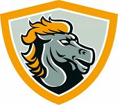 stock photo of broncos  - Illustration of a grey bronco horse head set inside shield crest on isolated white background done in retro style - JPG