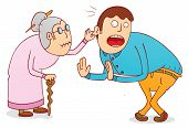 picture of grandma  - Illustration of a Cruel Grandma with her son - JPG