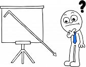 image of going out business sale  - Hand drawn cartoon businessman thinking beside standing sales chart with question mark and sales going down off chart - JPG