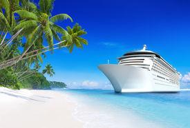 pic of passenger ship  - 3D Cruise Ship by Tropical Beach - JPG