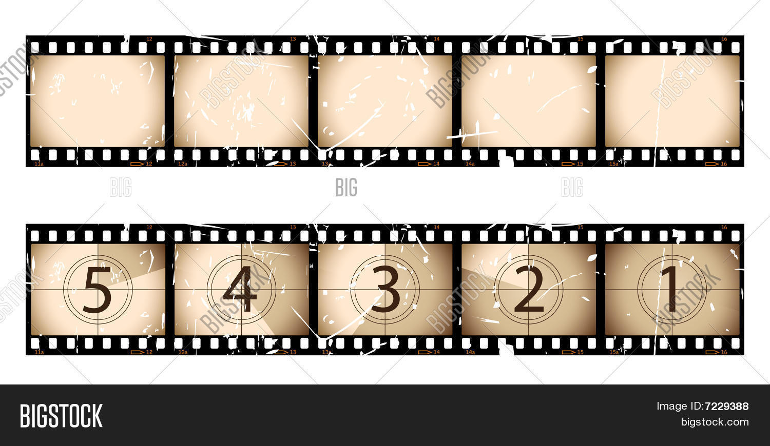 old sepia film strip countdown vector & photo | bigstock, Powerpoint templates