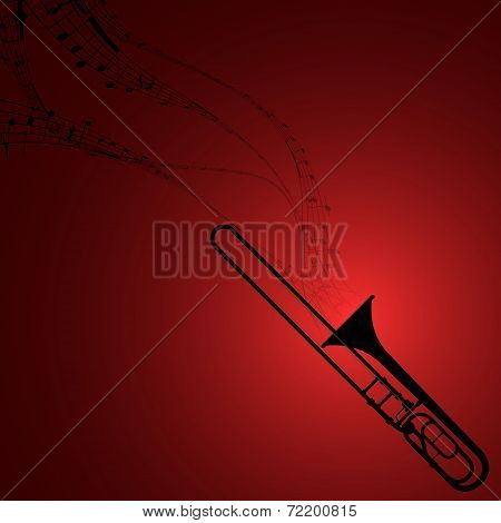 Trombone With Musical Symbols