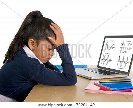 Spanish Little Schoolgirl Bored And Tired With Computer Maths Homework