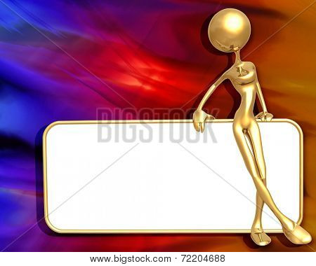 3D Presentation Concept Woman Holding A Sign