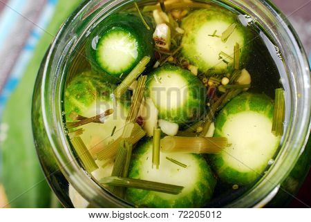 Freshly Made Pickled Cucumbers In Jars