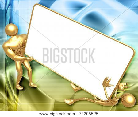 3D Presentation Concept Man Falling Holding On A Sign