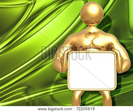 3D Presentation Concept Man Holding A Sign