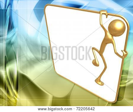 3D Presentation Concept Man Holding On A Sign