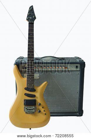 Vintage Electric Guitar And Rare Vintage Amplifier