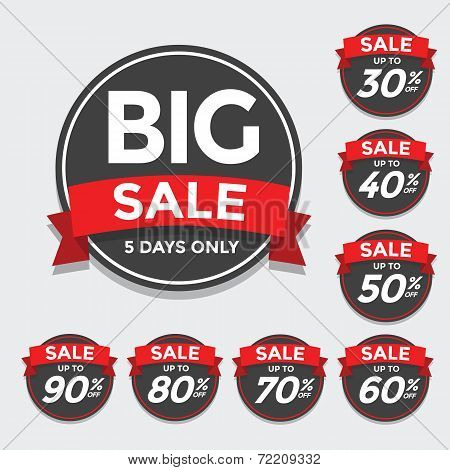 Big Sale tags with Sale up to 30 - 90 percent text on