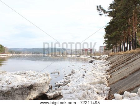 Kan River after an ice drift. Zelenogorsk Krasnoyarsk Territory