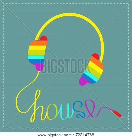Rainbow Headphones With Cord In Shape Of Word House. Blue Background. Music Card.