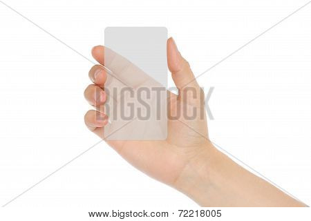 Hand holds transparent card