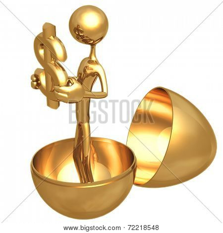 Gold Nest Egg Open With Dollar Inside