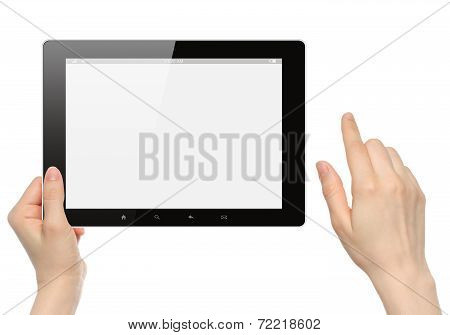 Woman hands hold and touch tablet PC