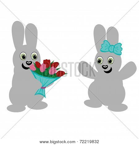 nice hares and flowers