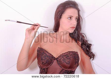 Sexy girl in smoke
