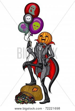 Halloween Pumpkin Head Jack with air balloons