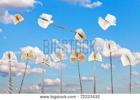 Set Of Book Tied On Ropes And Chains With Blue Sky