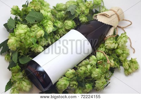 Beer Bottle With Hops