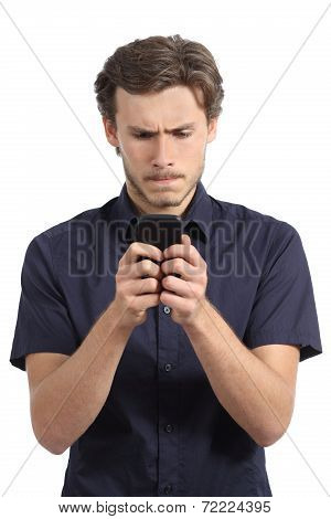 Young Man Obsessed With His Smart Phone