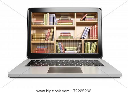 3D Laptop. Digital Library Concept