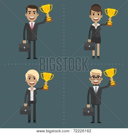 Businesswoman and businessman holding cup