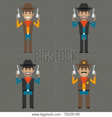 Cowboy robber and sheriff holding guns