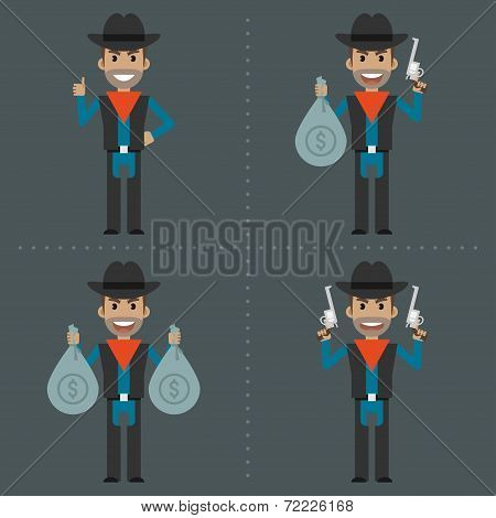 Cowboy robber holding money and weapons