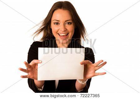 Preety Assian Caucasian Woman Holding A White Card
