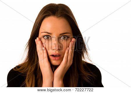Frightened Woman - Preety Girl Gesturing Fear
