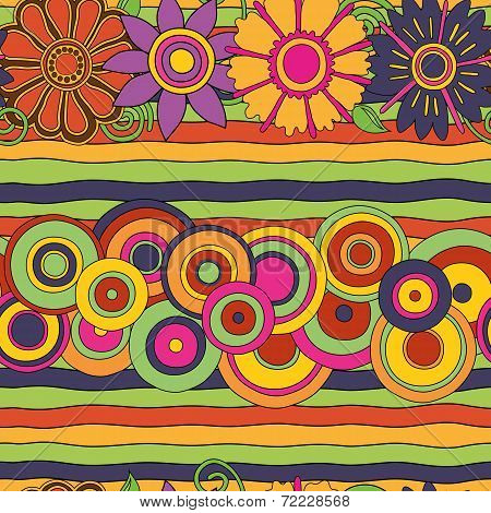 psychedelic circles and flowers seamless pattern
