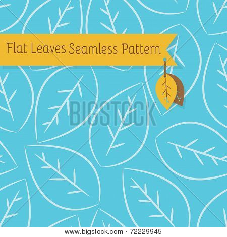 Single white leaves seamless pattern on blue background
