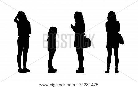People Standing Outdoor Silhouettes Set 17