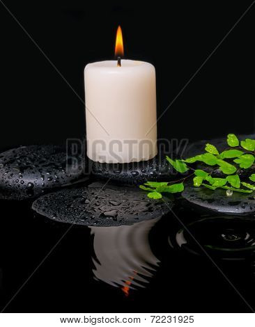Spa Still Life Of Green Leaf Fern With Drop And Candle On Zen Stones In Ripple Reflection Water, Clo