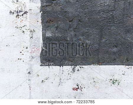Old  Painted Wall  Divided Into Two Parts